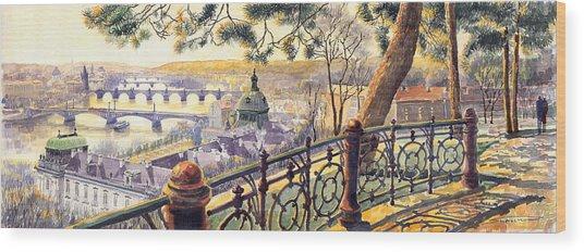 Panorama Prague Bridges Wood Print