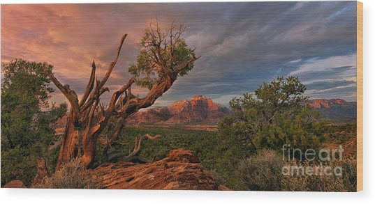 Wood Print featuring the photograph Panorama Storm Back Of Zion Near Hurricane Utah by Dave Welling