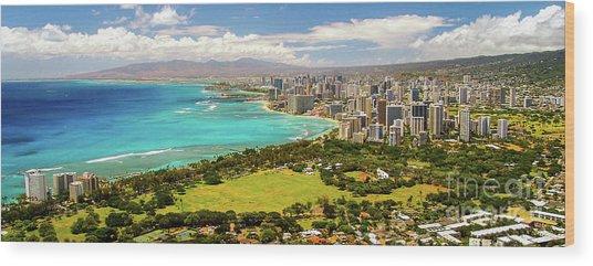 Panorama - Waikiki, Honolulu, Oahu, Hawaii Wood Print