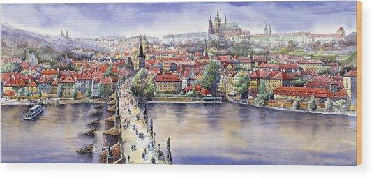 Panorama With Vltava River Charles Bridge And Prague Castle St Vit Wood Print