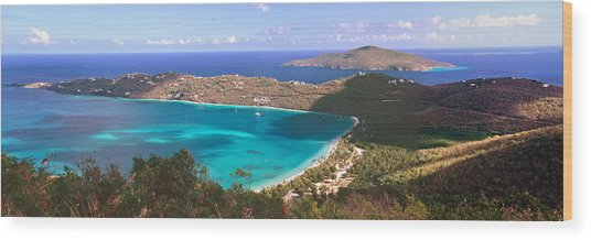 Panoramic Aerial View Of Magens Bay Wood Print by George Oze