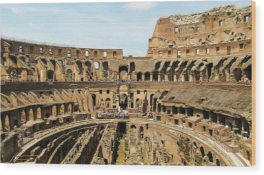 Inside The Colosseum Wood Print