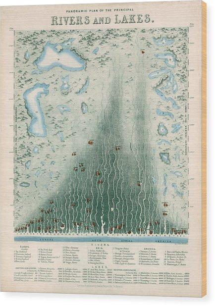 Panoramic Plan Of The Principal Rivers And Lakes - Historical Chart Wood Print