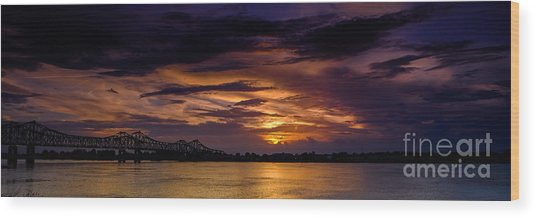 Wood Print featuring the photograph Panoramic Sunset At Natchez by T Lowry Wilson
