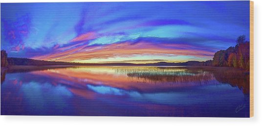 Panoramic Sunset At Round Lake Wood Print