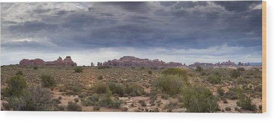Panoramic View At Arches National Park Wood Print