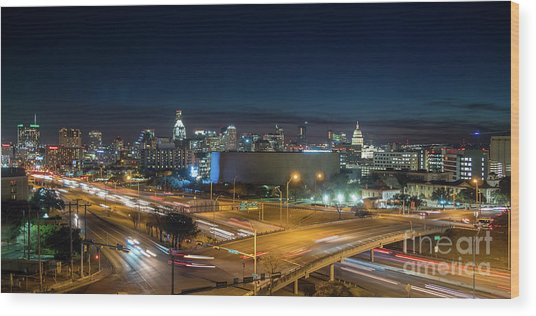 Panoramic View Of Busy Austin Texas Downtown Wood Print