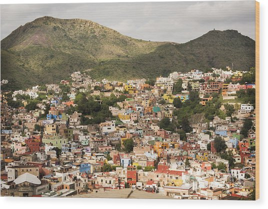 Panoramic View Of Colorful Hillside Homes In Guanajuato Mexico Wood Print