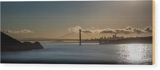 Panoramic View Of Downtown San Francisco Behind The Golden Gate  Wood Print