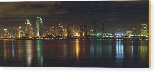 Panoramic View Of San Diego At Night Wood Print by George Oze