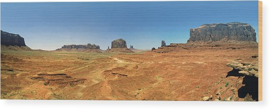 Panoramic View Of The Monument Valley  Wood Print by George Oze
