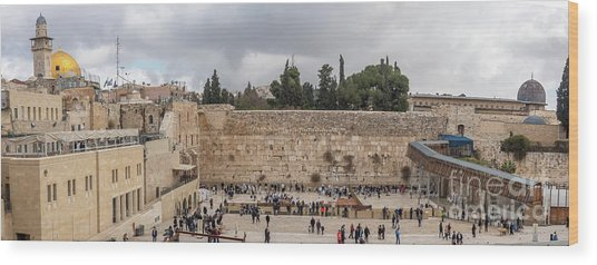 Panoramic View Of The Wailing Wall In The Old City Of Jerusalem Wood Print