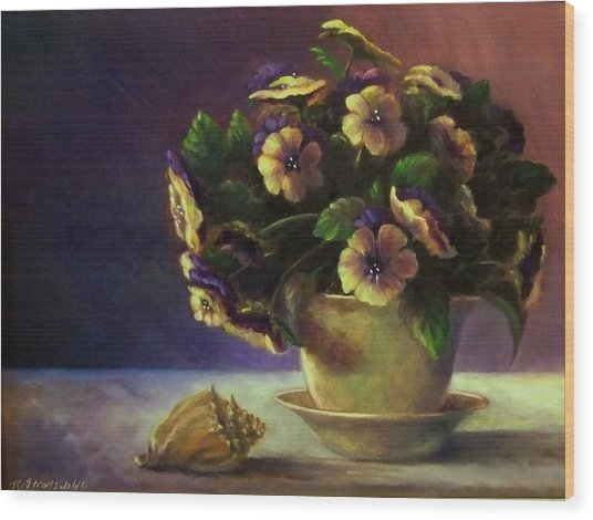 Pansies And Celadon Wood Print by Ruth Stromswold