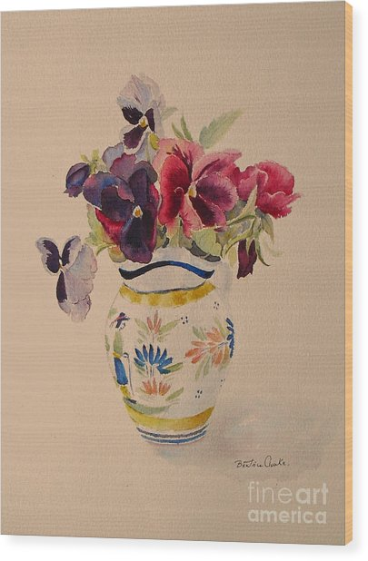 Pansies In A Quimper Pot Wood Print