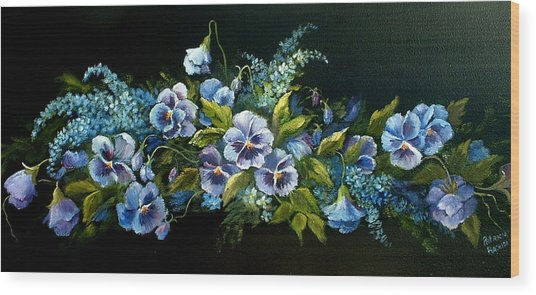 Pansies In Blue On Black Wood Print
