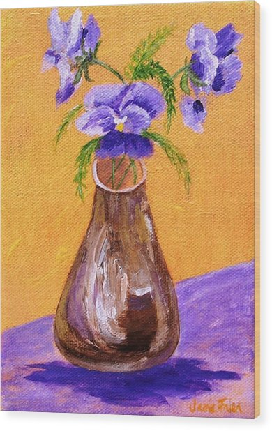 Pansies In Brown Vase Wood Print