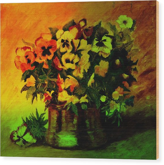 Pansies In The Vase Wood Print