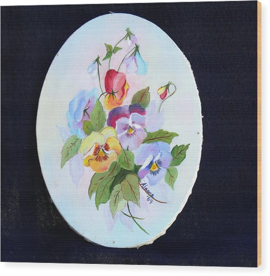 Pansies Posing Wood Print by Alanna Hug-McAnnally