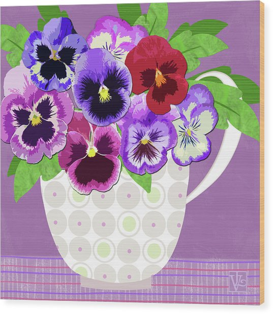 Pansies Stand For Thoughts Wood Print