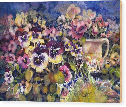 Pansy Garden Wood Print
