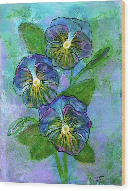 Pansy On Water Wood Print