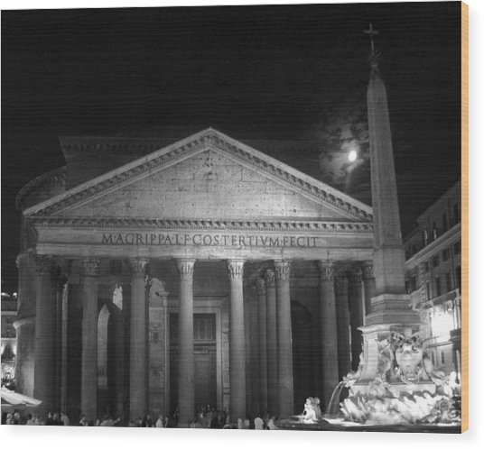 Pantheon Full Moon Wood Print by Alan Zeleznikar