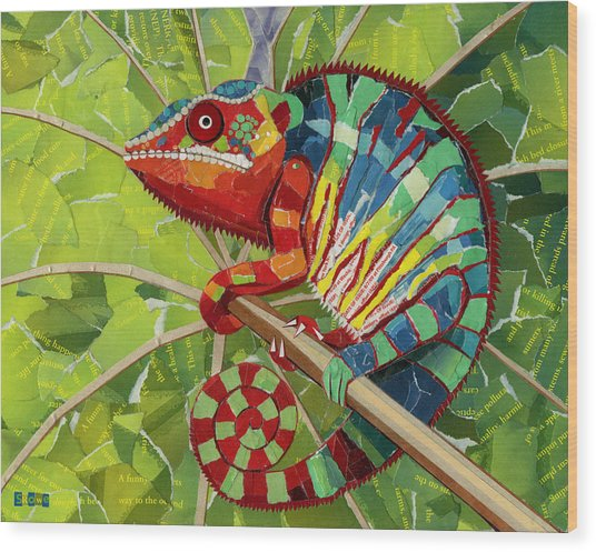 Panther Chameleon Wood Print
