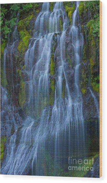 Panther Creek Falls Summer Waterfall -close 2 Wood Print
