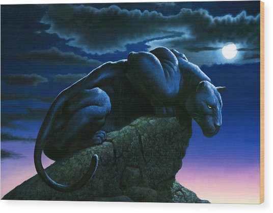 Panther On Rock Wood Print