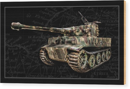 Panzer Tiger I Side Bk Bg Wood Print