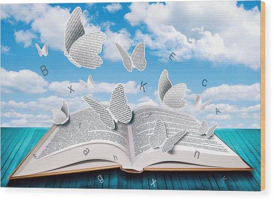 Paper Butterflies Wood Print