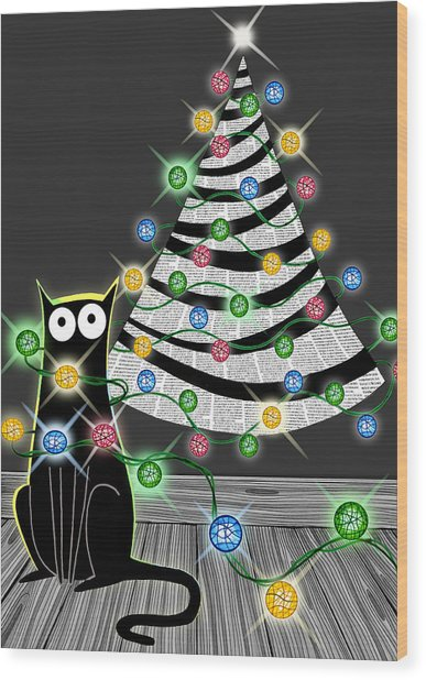 Paper Christmas Tree Wood Print