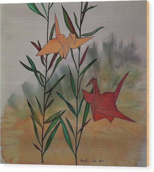 Paper Cranes 1 Wood Print