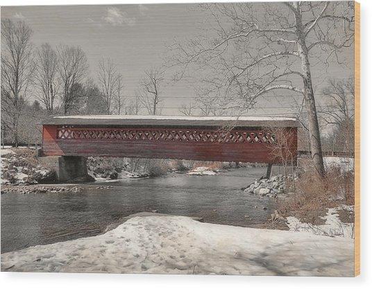 Paper Mill Village Bridge Wood Print by JAMART Photography