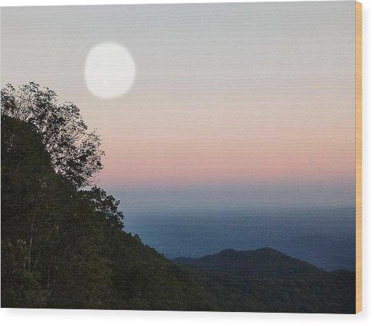 Paper Moon Over Blue Ridge Wood Print