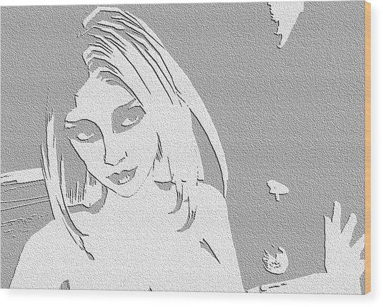 Paper Raven Wood Print by Margie  Byrne