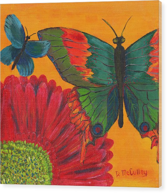 Papillon Jaune Wood Print by Debbie McCulley