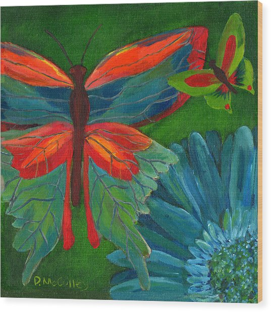 Papillon Vert - Green Butterfly Wood Print by Debbie McCulley