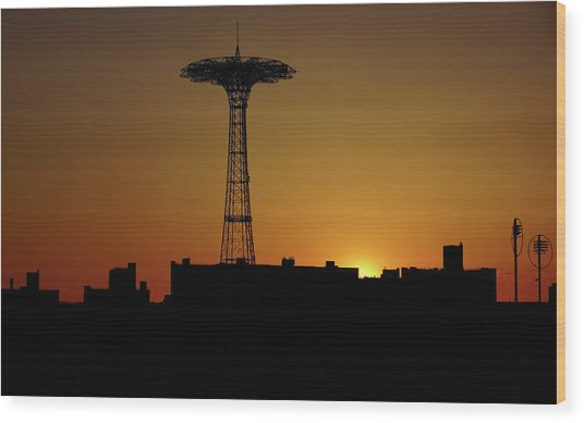 Parachute Jump Coney Island Wood Print