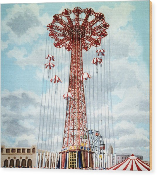 Parachute Jump In Coney Island New York Wood Print