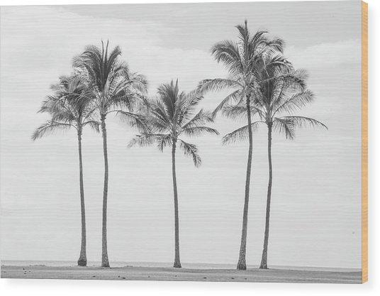 Paradise In Black And White II Wood Print