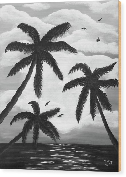 Paradise In Black And White Wood Print