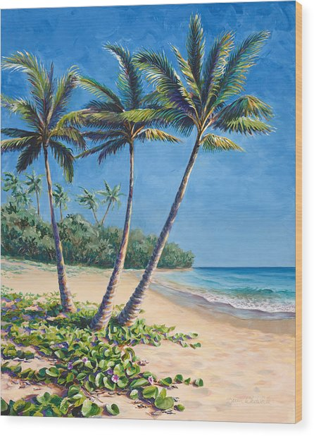 Tropical Paradise Landscape - Hawaii Beach And Palms Painting Wood Print