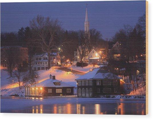 Paradise Pond Smith College Winter Evening Wood Print