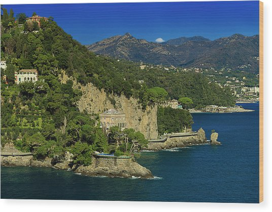 Paraggi Bay Castle And Liguria Mountains Portofino Park  Wood Print