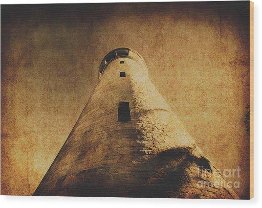 Parchment Paper Lighthouse Wood Print