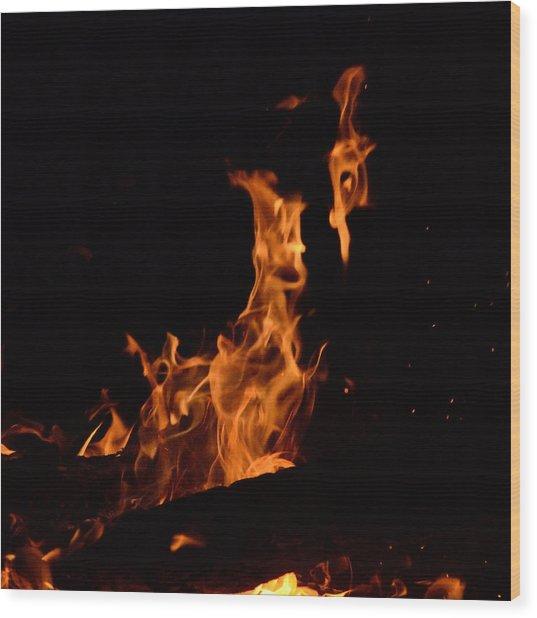 Pareidolia Fire Wood Print