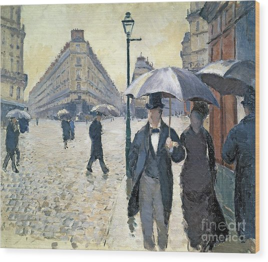 Paris A Rainy Day Wood Print
