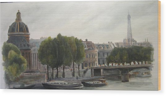 Paris Across The Seine Wood Print by Victoria Heryet