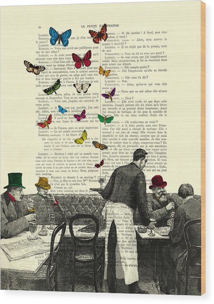 Inside Of A French Bistro At Paris And Rainbow Butterflies Wood Print